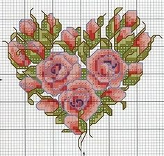 heart of roses cross stitch chart Monogram Cross Stitch, Cross Stitch Needles, Cross Stitch Heart, Cross Stitch Flowers, Cross Stitching, Cross Stitch Embroidery, Embroidery Patterns, Floral Embroidery, Wedding Cross Stitch Patterns