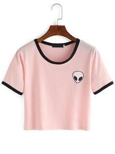 Pink Crew Neck Alien Print Crop T-Shirt Mobile Site