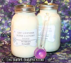 "Tired of spending $10-20 on a ""Big"" bottle of laundry detergent that lasts only a couple weeks? Here is a Super Concentrated Laundry Detergent Recipe that doubles as a laundry softener with a clean fresh Lavender scent- as if that weren't enough, you won't need a dryer sheet either! Oh, and did  we happen to mention that it costs less than $2 to make enough concentrate to do 128 Loads of laundry?!"