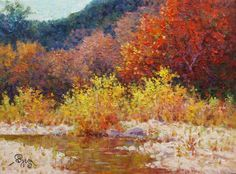 autumn colors along a steam impressionist oil painting by Byron copyright 2014