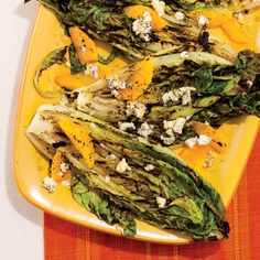 Grilled romaine with oranges, blue cheese and orange vinaigrette! Get the delicious recipe here:  http://blog.womenshealthmag.com/dish/grilled-romaine-with-oranges-blue-cheese-and-orange-vinaigrette/?cm_mmc=Pinterest-_-WomensHealth-_-Content-Dish-_-GrilledRomaineSalad