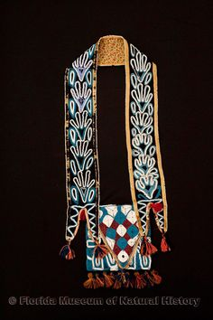 "Florida Ethnographic Collection: Bandolier bag, Seminole, cotton cloth, glass beads, ca. 1830s-1840s, 4.0"" maximum width of band (E-603)."