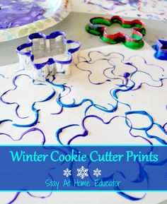 Cookie cutter art is a favorite during the winter holiday season. It's process based and cookie cutter art is appropriate for all ages, from young toddlers through elementary school. Add it to your winter theme preschool lesson plans or your process art c Winter Activities For Kids, Winter Crafts For Kids, Winter Fun, Art For Kids, Winter Holiday, Winter Crafts For Preschoolers, Winter Preschool Crafts, Winter Art Kindergarten, Art For Toddlers