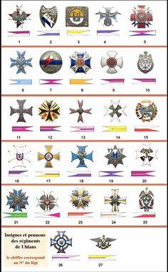 Odznaki i barwy pułkowe ułanów. Army Uniform, 16th Century, Ww2, Poland, Badge, Military, Flags, Patches, Europe