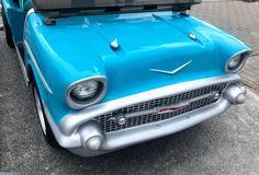 A golf cart body kit can turn your cart into a '57 Chevy... #golfcartbodykits #customgolfcartbodies Custom Golf Cart Bodies, Custom Golf Carts, Golf Cart Body Kits, Custom Body Kits, Electric Golf Cart, Fender Flares, Chevy, Vehicles, Accessories