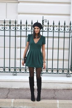 Combi short verte robe verte zara blog mode vetements pas cher bottes cuissardes noires daim