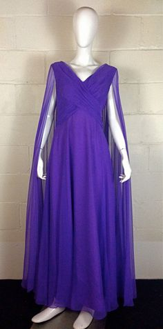 Vintage 70s Purple Chiffon Party Cocktail by LifeonMarsVintage, $88.00