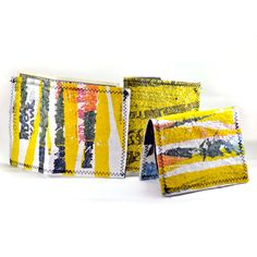 Items similar to cool recycled plastic bag wallets on Etsy Fused Plastic, Recycled Plastic Bags, Recycling Ideas, Textiles, Surface Design, Fiber Art, Sustainability, Repurposed, Creativity