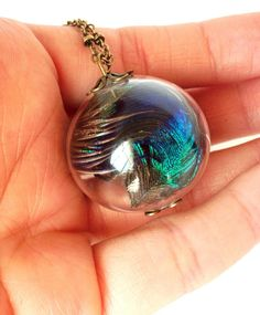 Peacock Feather Glass bubble necklace