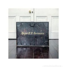 """single large painted black metal deed chest with original gold lettering """" Major R.H Borrowes"""". In lovely vintage condition with some light wear which commensurate with age and originality which adds to the character. Could be used as a side table or coffee table. Dm for more details height 48x depth x 44x width 62 cms One of a pair Some more information on the family of origin Sir Kildare Borrowes, 3rd Baronet (c. 1660 – May 1709)[1] was an Irish politician.He was the son... Family Of Origin, Baronet, Mother Family, Find Furniture, Black Metal, Irish, Lettering, Coffee, Antiques"""