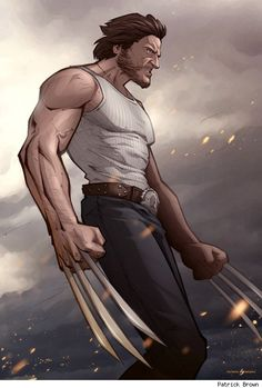 Wolverine (Hugh Jackman) is ready to bring the pain in Patrick Brown's new Marvel fan art illustration, Bub. Marvel Wolverine, Marvel Comics, Hq Marvel, Logan Wolverine, Marvel Heroes, Captain Marvel, Wolverine Movie, Wolverine 2009, Wolverine Origins