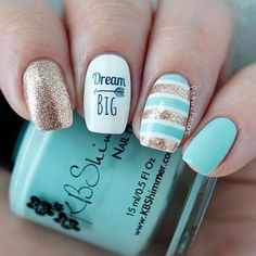 Mint & Gold Boho 'Dream Big' Nails