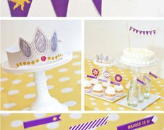Rapunzel Birthday Cake CUSTOM Sun Mini Bunting by pagingsupermom