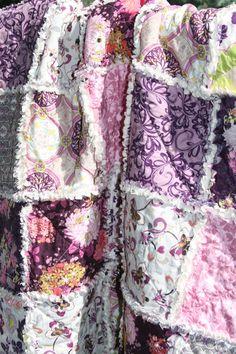 Crib Rag Quilt Baby Girl Crib Bedding Purple Pink by justluved, $109.00