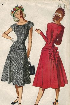 1940s Simplicity 2099 Vintage Sewing Pattern Misses Dress Size 12 Bust 30