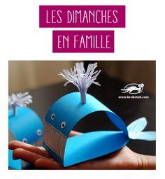 N'est-elle pas charmante cette petite #baleine en #papier ? Suivez ce tuto créatif avec les enfants !   #DIY #DoItYourself #famille #activité
