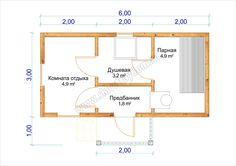 "Баня из бруса 3х6м, проект «Б 2», план, цена под ключ - СлавьСтройДом"" Indoor Sauna, Sauna House, Steam Room, Workout Rooms, Bad, Tiny House, House Plans, Floor Plans, House Design"
