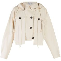 Loewe Hooded cotton-blend cropped jacket ($1,990) ❤ liked on Polyvore featuring outerwear, jackets, white, hooded parka jacket, hooded parka, oversized hooded jacket, oversized jacket and white cropped jacket