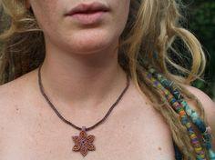 Orange and purple macrame flower necklace