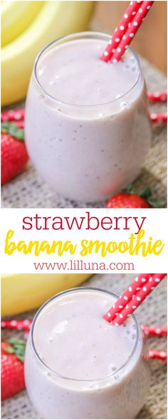 This Strawberry Banana Smoothie recipe is delicious, and made with ingredients you probably have on hand - bananas, strawberries, yogurt, and milk! #strawberrybananasmoothie #smoothie #fruitsmoothie #strawberrysmoothie #fruit