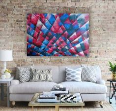 tinyurl.com/y7y6fbng   STAINED #GLASS #MOSAIC #Large #abstract #acrylic #painting 110x160 cm #unstretched #canvas #blue, #teal, #pink, #rose and #silver #original #geometric #art by #artist Ksavera