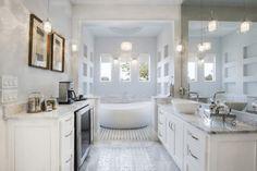 White Modern Quartz Natural Light Bathroom Master Calcutta Gold Chandelier Shelves Storage His Hers Mirrors
