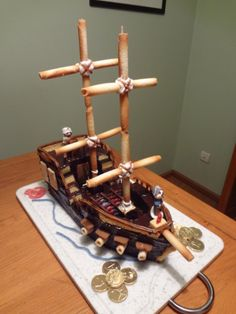 Hello my chicks ! Are you looking for an original cake idea for your toddler& birthday? No need to panic ! Here is one: the pirate ship ! An unexpected cake, … - Easter Cookies, Birthday Cookies, Cupcake Cookies, Christmas Cookies, Cookie Bar Party, Chocolate Cake Mix Recipes, Super Cookies, Mini Tortillas, Dog Cakes