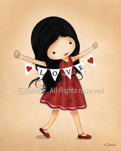 Valentines day children wall art print love hearts room by jolinne, $15.00
