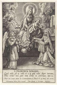 Hieronymus Wierix | Visioen van H. Francesca Romana, Hieronymus Wierix, 1563 - before 1608 | De heilige Francesca Romana, gekleed in het habijt van de olivetaanse oblaten, ontvangt in een visioen het Christuskind van de gekroonde maagd Maria. Zij daalt neer op een wolk, omgeven door cherubijnen, met het Kind op schoot. Een engel, met een olijftak in de hand, kijkt in aanbidding toe. In de marge een tweeregelig Bijbelcitaat uit Ps. 72 en een regel met biografische gegevens in het Latijn.