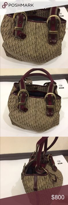 🚩sale🚩Christian Dior handbag authentic Dior handbag brown with a burgundy leather handle Christian Dior Bags Shoulder Bags