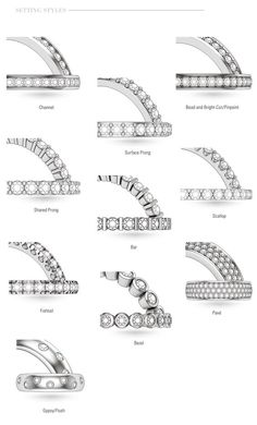 Quick glance at different ways for accent gems to be set on any ring