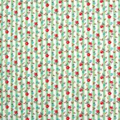 Roses and Stripes Cotton Mint 112cm