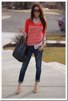 boyfriend jeans with nude heels and sweater over button down top.