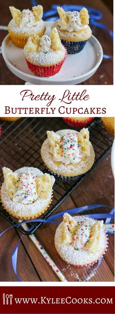 Make these Pretty Little Butterfly Cupcakes for a lovely mid-morning snack, or for a birthday party. Or a random Tuesday.  #cupcake #butterfly #party #recipe via @kyleecooks