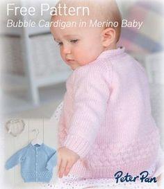 free bubble cardigan in Peter Pan Merino Baby yarn Baby Cardigan Knitting Pattern Free, Knitted Baby Cardigan, Knit Baby Sweaters, Knitted Baby Clothes, Baby Knitting Patterns, Baby Patterns, Free Knitting, Baby Jumper, Baby Knits