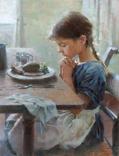 A Thankful Heart - Girl offering prayer by artist Morgan Weistling. I am not a religious person but this is beautiful because all that matters is that she is thankful and humble. No matter who she thanks Morgan Weistling, Illustration Photo, Thankful Heart, Grateful, Thankful Prayers, Norman Rockwell, Beautiful Paintings, Paintings Famous, Oil Paintings