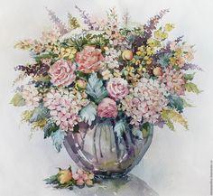 """Купить Букет """"Нежность"""" - кремовый, розовый, нежность, цветы, букет, акварель, гортензия, розы"""