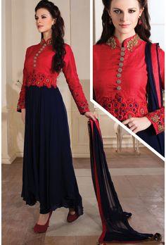 Navy Blue and Red Chiffon Salwar Kameez - Glowindian