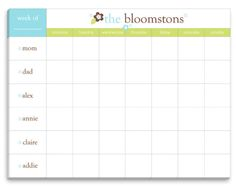 Blue Floral Weekly Schedule Pad
