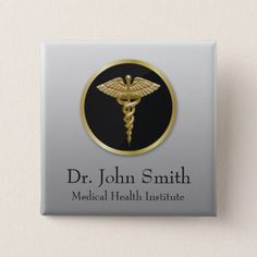 Gold Professional Medical Caduceus - Button - classy gifts custom diy personalize