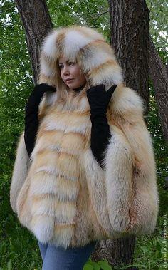 Пончо с капюшоном из меха рыжей сибирской лисы. - пончо из лисы,пончо меховое