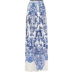 Roberto Cavalli Printed crepe de chine maxi skirt ❤ liked on Polyvore featuring skirts, long blue skirt, black and white skirt, blue maxi skirt, pleated skirt and long pleated skirt