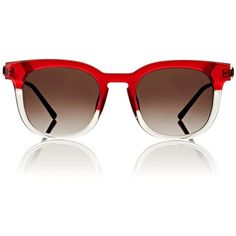 Thierry Lasry Women's Penalty Sunglasses (25.935 RUB) ❤ liked on Polyvore featuring accessories, eyewear, sunglasses, red, red glasses, red sunglasses, block sunglasses, clear lens glasses and clear sunglasses