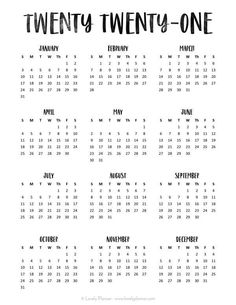 Free 2020 Calendar Printable One Page - Lovely Planner ...