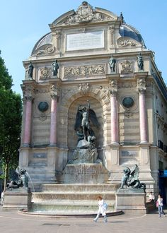 Luxembourg District, Monnaie Quarter, Place Saint Michel, Saint-Michel Fountain, Paris VI