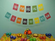 Fiesta Happy Birthday Laser Cut Banner  Made by Vintagebabydoll, $33.00