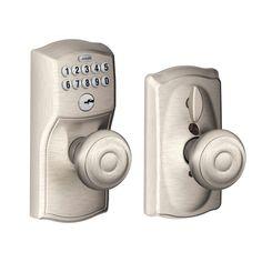 Schlage Electronic Keypad Door Lock In Satin Nickel Ideal For Garage Entry Doors Home Offices Computer Rooms Wine Cellar Door Levers Keypad Lock Door Locks