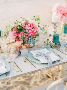 Coral and Aqua Beach Wedding with Peonies and Sea Glass | Lauren Fair Photography| http://heyweddinglady.com/tropical-beach-glam-bahamas-wedding-sparkling-gold-pink/