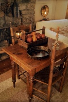Antique Table and prim accessories in Living Room