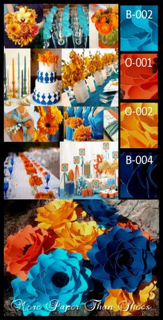 Paper Flowers - Blue and Orange - Designed by MPTS